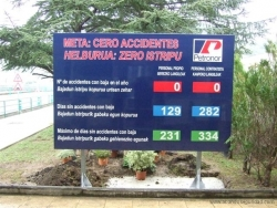 Cartel número de accidentes Petronor