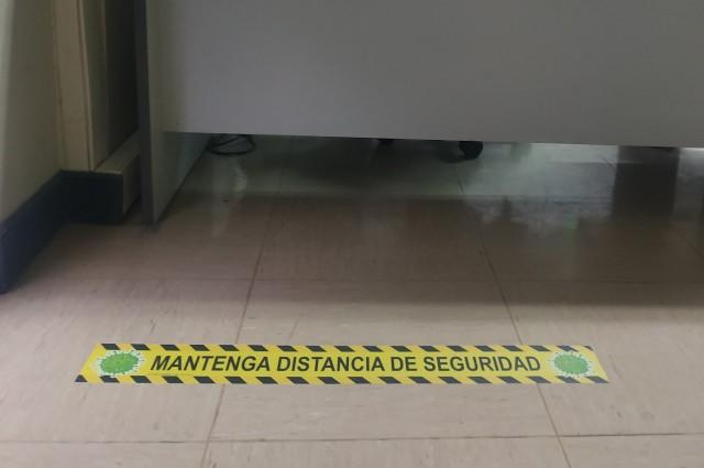 Bandas suelo distancia seguridad