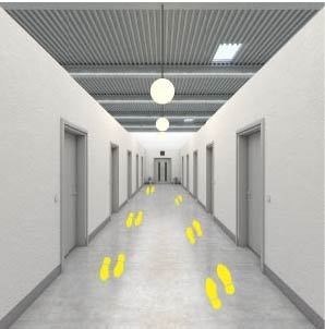 Huellas suelo amarillas