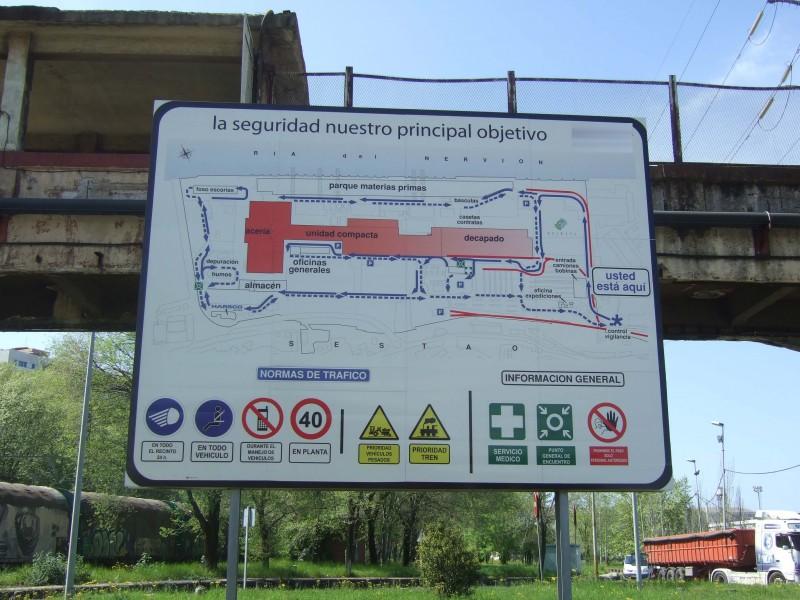 Panel industrial informativo de ubicación
