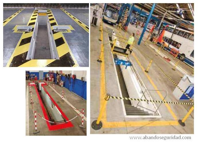 Señalización y Protección Fosos de Trabajo: barandillas, cadenas, barreras, espejos,...