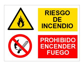 Panel multiseñal - Riesgo Incendio y Prohibido Encender Fuego