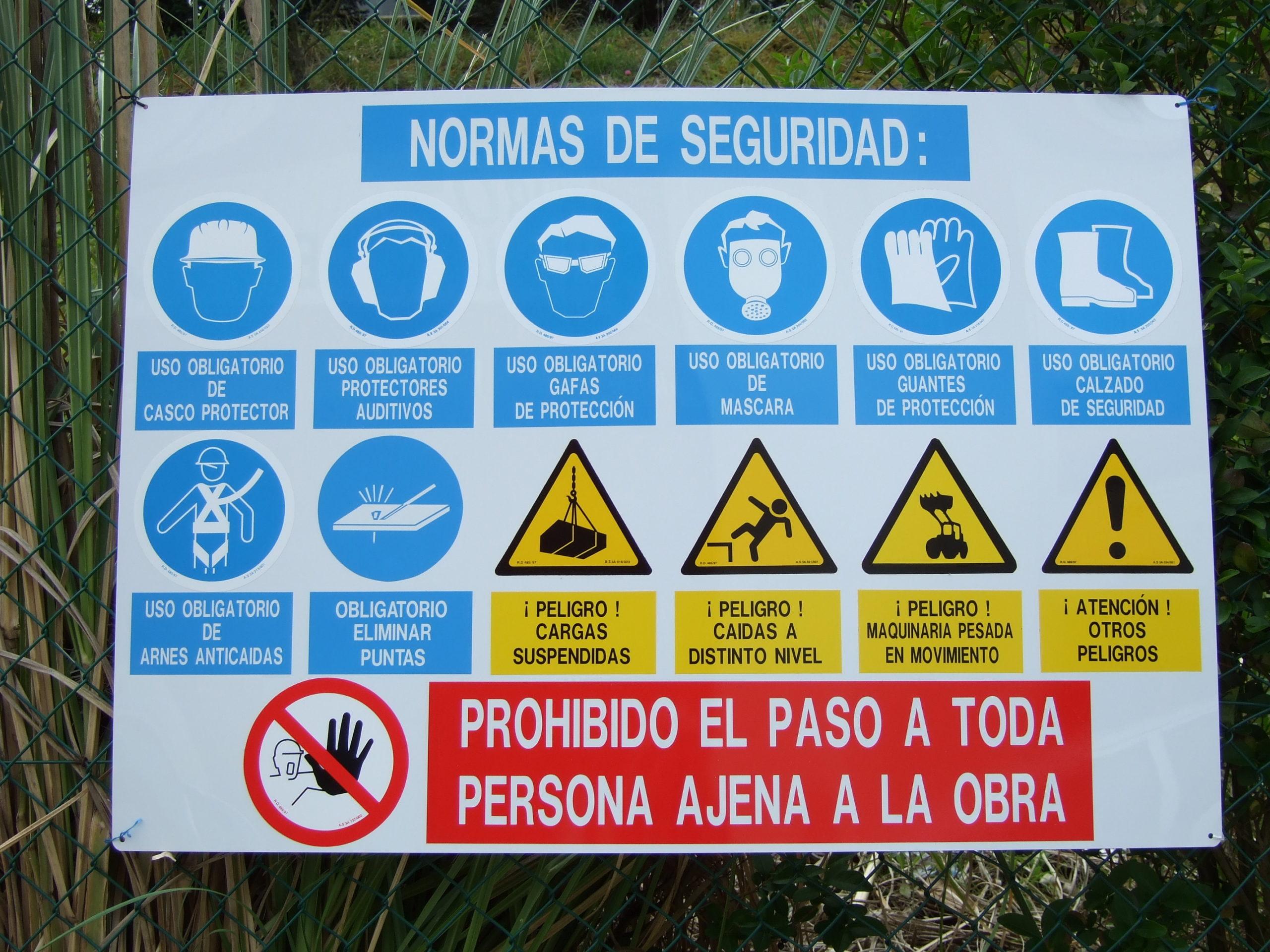Panel Señalización Normas Seguridad Obras